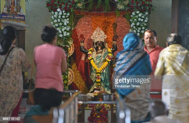 People from Bengali community visit Kallol Kali Mandir on the occasion of Bengali New Year also called Pohela Boishakh at Bangur Nagar on April 15...