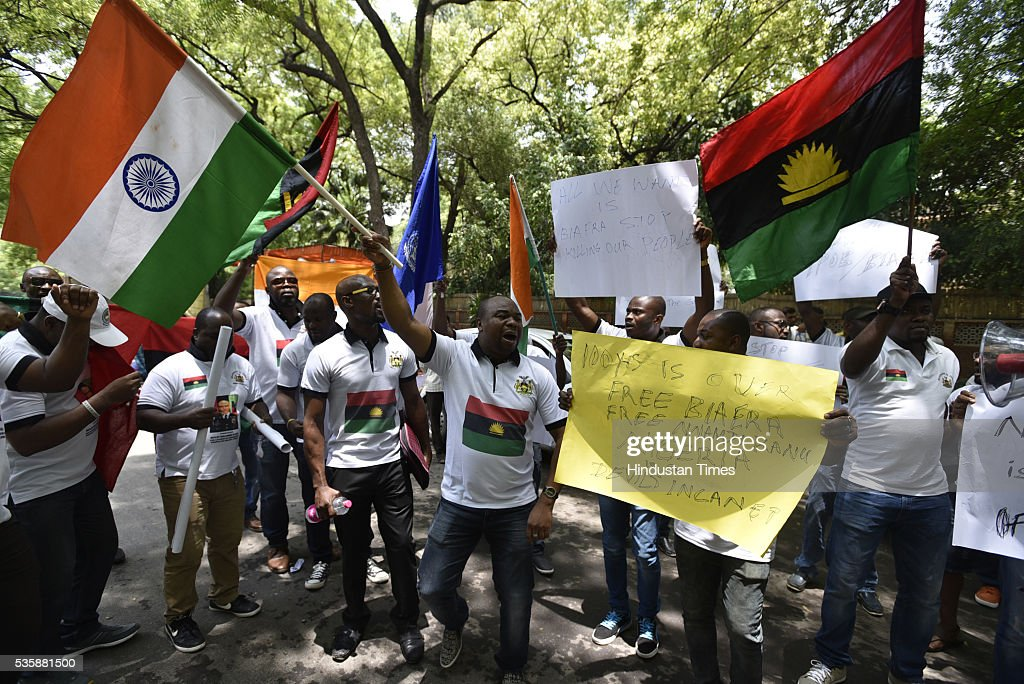 People from Biafra State (Nigeria) holding a protest for the release of pro-Biafra political activist Nnamdi Kanu who is in a Nigerian prison since October, 2015, at Jantar Mantar on May 30, 2016 in New Delhi, India.