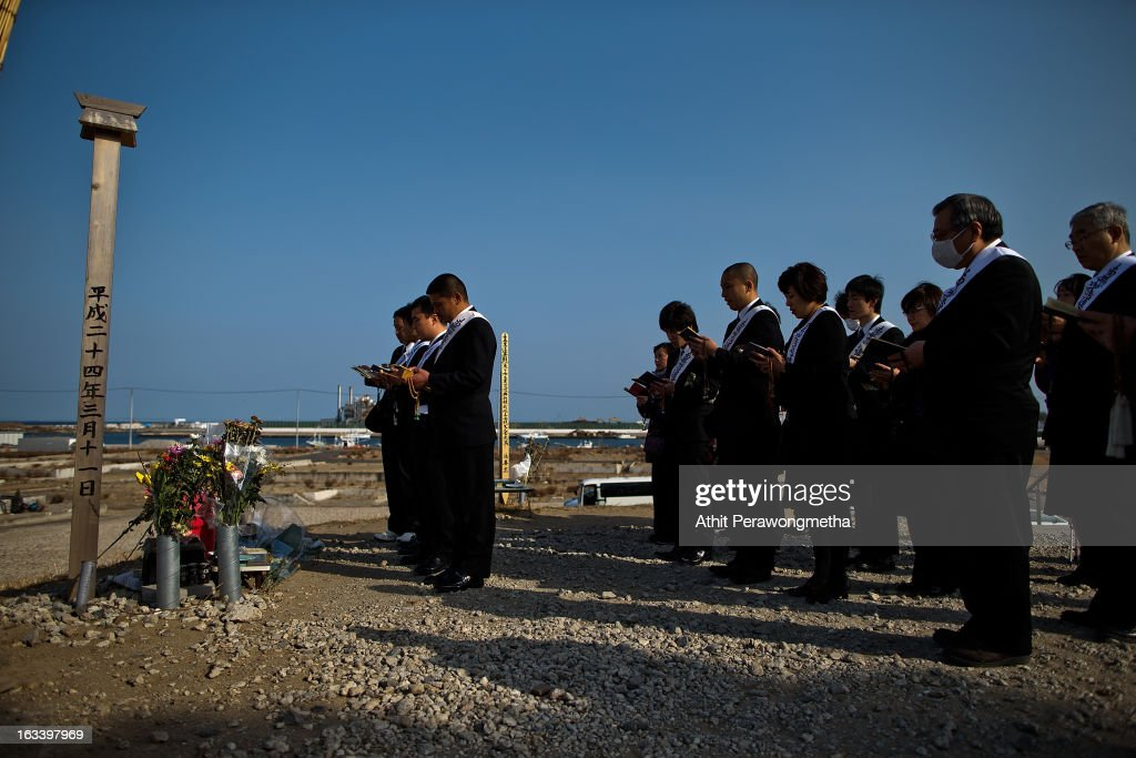 People from Kanagawa Prefecture pay their respects prior to the second anniversary of the earthquake and tsunami on March 9, 2013 in Natori, Japan. On March 11 Japan will remember the second anniversary of a Magnitude 9.0 earthquake which was followed by a tsunami that claimed more than 18,000 lives.