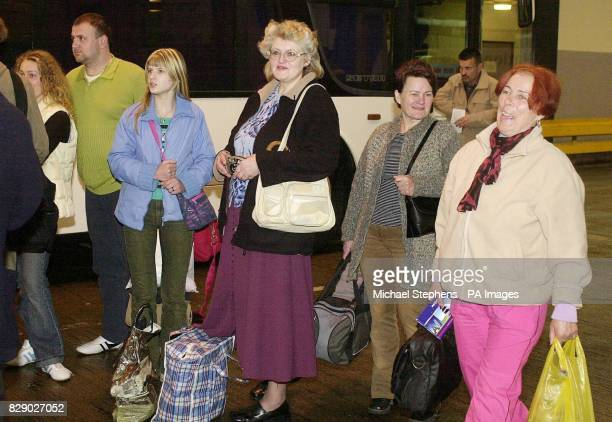 People from Lithuania arrive at Victoria Coach Station on the day that the country joined the European Union Migrant workers from the new countries...