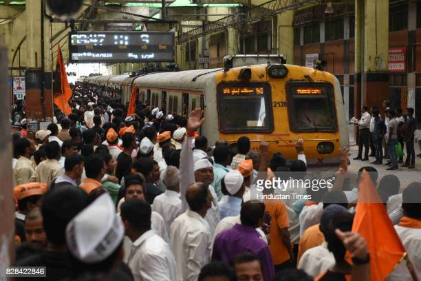People from Maratha Community take part in Maratha Kranti Morcha from APMC Market at Sanpada on August 9 2017 in Navi Mumbai India The protest rally...