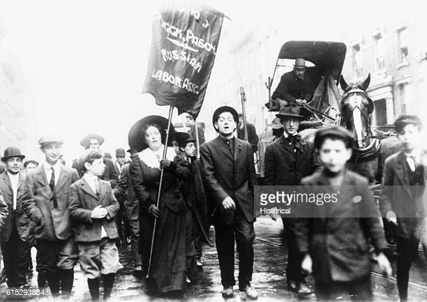 People from the Russian Society in New York City hold a Labor Parade in May of 1909