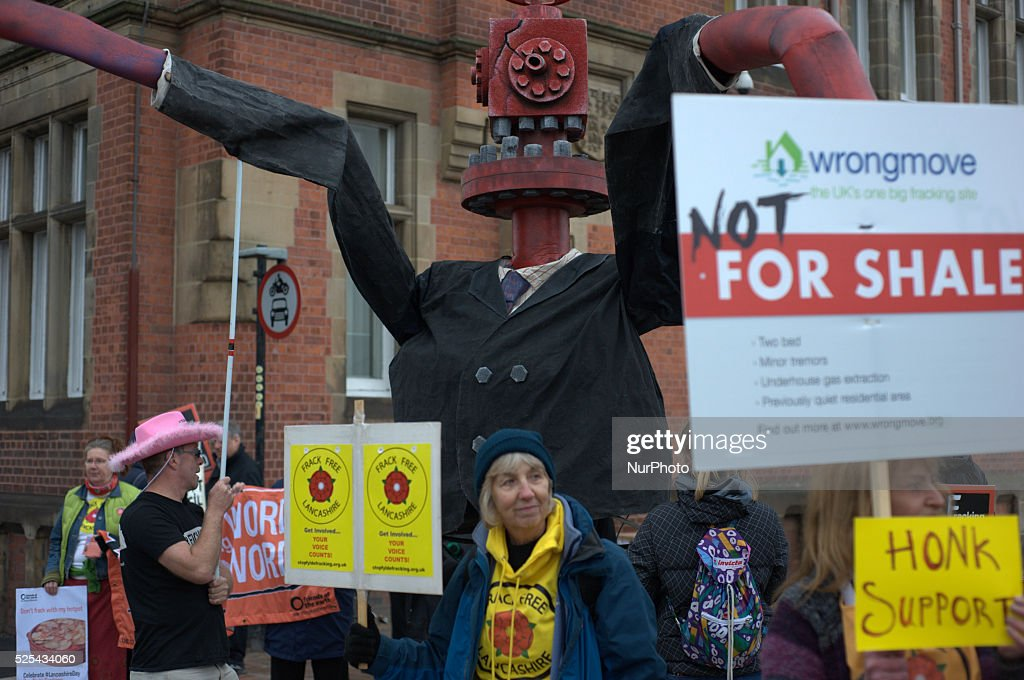 People from various campaign groups including Frack Free Lancashire Frack Free Greater Manchester Friends of the Earth and Greenpeace gathered on...