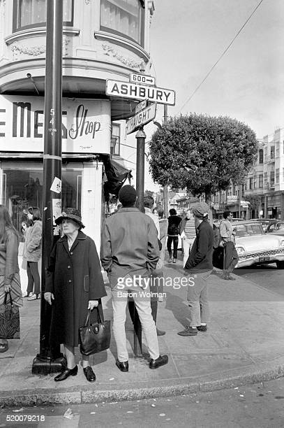 People gather around Haight Ashbury district during the protest against the War in Vietnam San Francisco April 15 1967