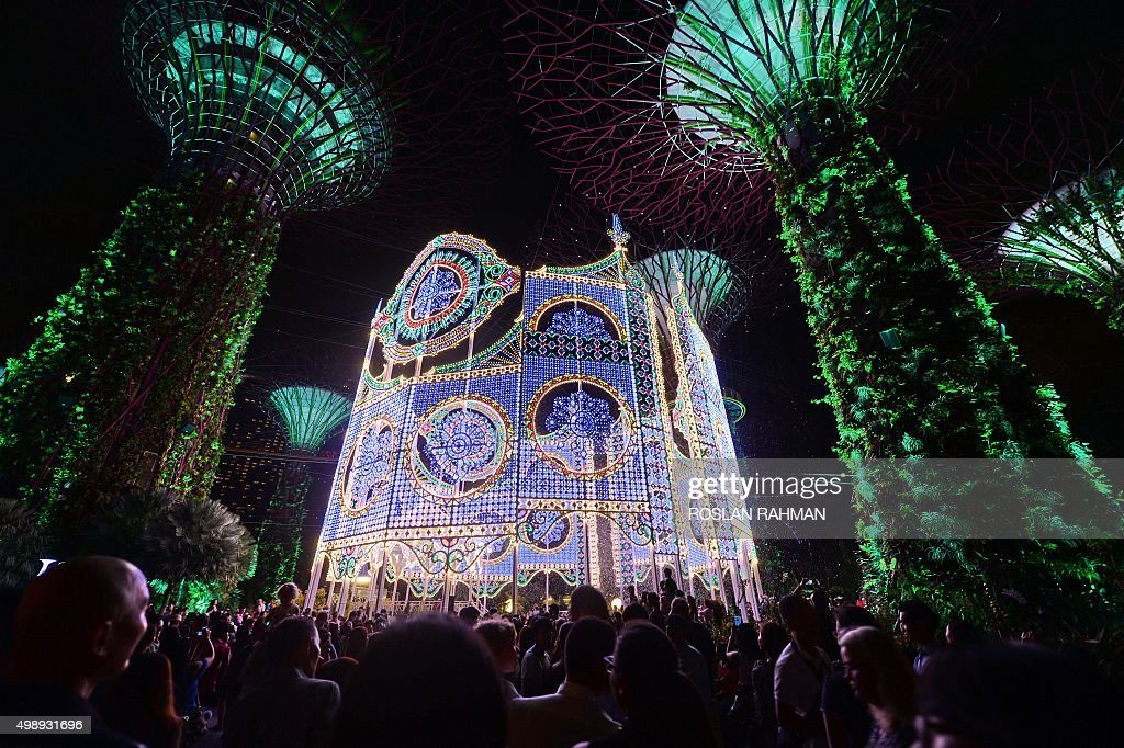 people gather around the luminarie light sculpture during the christmas light up festival at garden