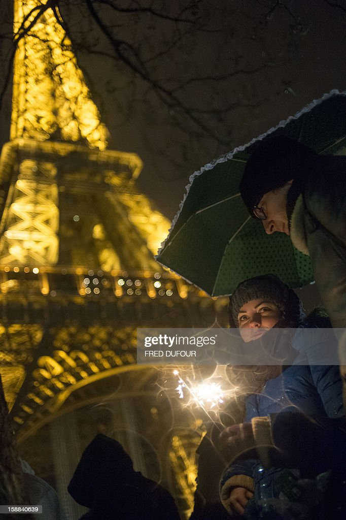 People gather as they celebrate the New Year on the Trocadero square beside the Eiffel Tower in Paris, early on January 1, 2013.