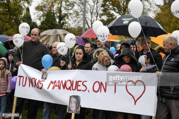 People gather as they take part in an event to remember missing French girl Maelys de Araujo in Les AbretsenDauphiné eastern France on November 5 on...