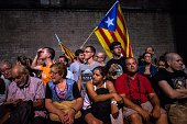 People gather at Fossar de les Moreres after the flowers offering of the President of Catalonia Artur MasÊon September 10 2014 in Barcelona Spain For...