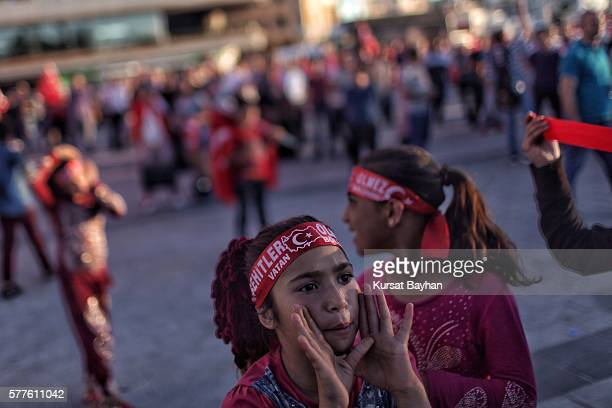 People gather at Istanbul's central Taksim Square on July 19 2016 in Istanbul Turkey Clean up operations are continuing in the aftermath of Friday's...