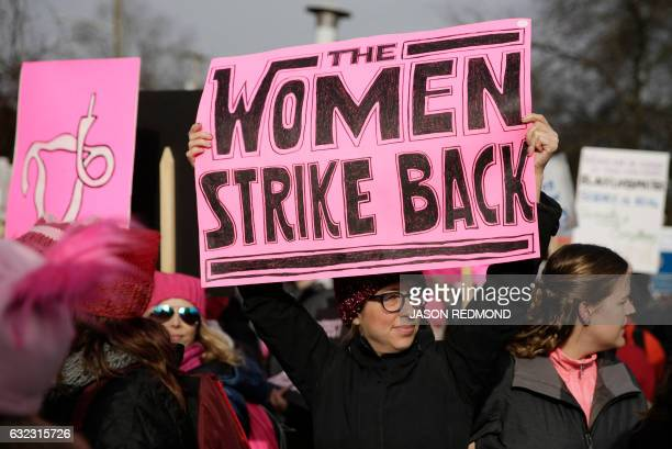 People gather at Judkins Park during the Women's March in Seattle Washington on January 21 2017 Led by women in pink 'pussyhats' hundreds of...