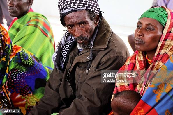 People gather at Marsabit county in Nairobi Kenya on February 23 2017 They gather to sell their animals to save them from being killed by the drought...