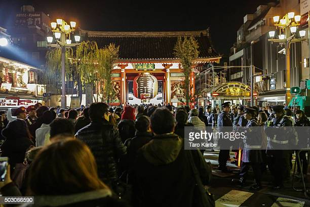 People gather at Sensojitemple to celebrate the New Year and pray on January 1 2016 in Tokyo Japan In Japan the New Year is celebrated with a series...