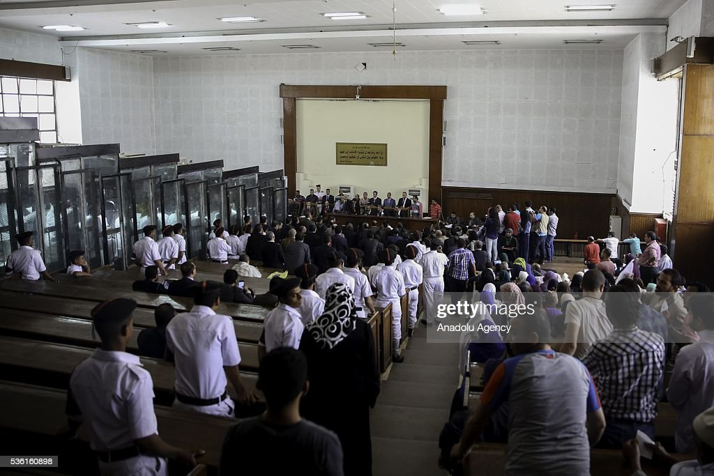 People gather at the court during the trials of Muslim Brotherhood members at the Police Academy in the capital Cairo, Egypt on May 31, 2016.