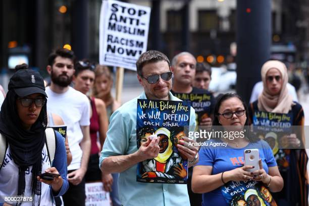 People gather during a commemoration ceremony at the Federal Plaza in Chicago IL United States on June 22 2017 for Nabra Hassanen who was murdered...