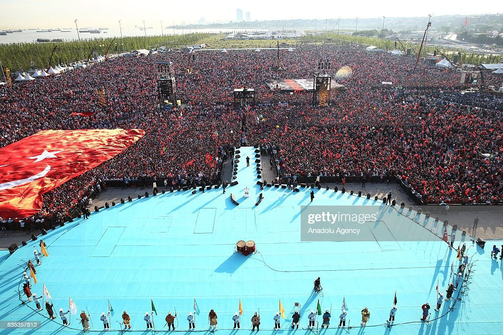 People gather during the celebrations of the 563rd anniversary of Istanbuls conquest by Turks at Yenikapi Event Area in Istanbul, Turkey on May 29, 2016. On May 29, 1453, Ottoman Sultan Mehmed II (Mehmet the Conqueror) conquered Istanbul, then called Constantinople, from where the Byzantines had ruled the Eastern Roman Empire for more than 1,000 years. The conquest transformed the city, once the heart of the Byzantine realm, into the capital of the new Ottoman Empire.
