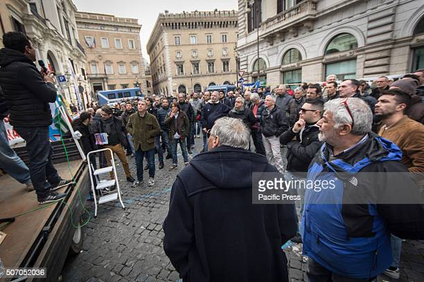 People gather during the demonstration in Italy Taxi drivers protest in downtown Rome Piazza Santi Apostoli coinciding with the European Day of...