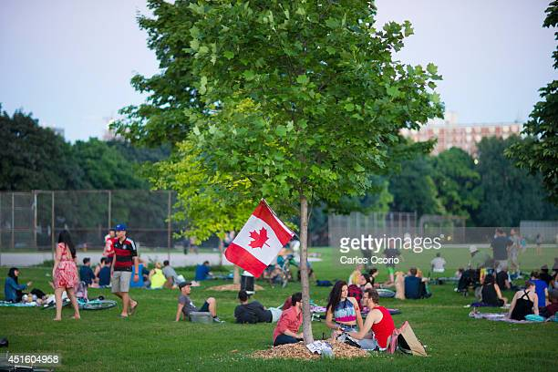 TORONTO ON JULY 1 People gather early in the evening at Trinity Bellwoods Park to watch fireworks on Canada Day