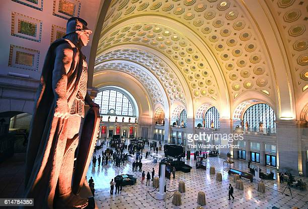 People gather for an event to commemorate the restoration of the main hall at Union Station on Thursday October 13 2016 in Washington DC