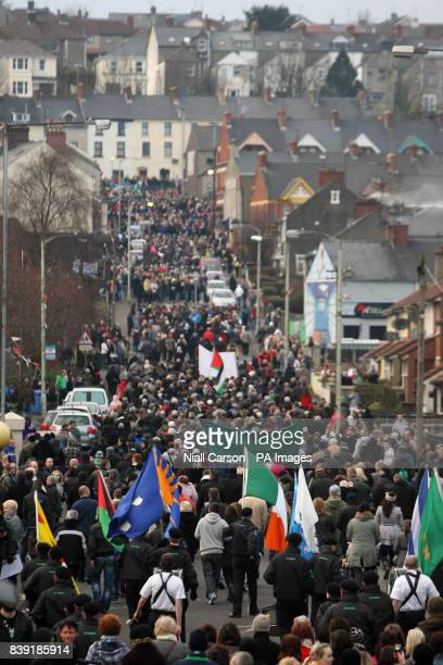 People gather for the 39th anniversary of Bloody Sunday in the Bogside area of Londonderry for what is expected to be the last commemorative march...