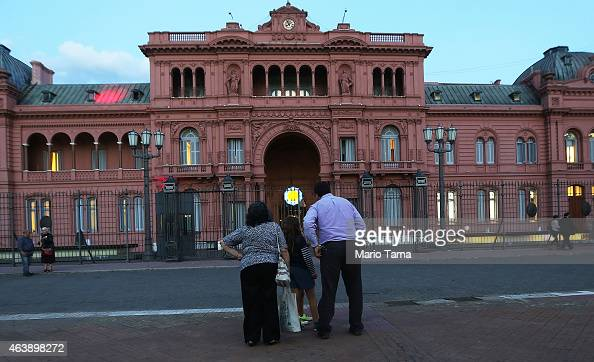 People gather in front of the Casa Rosada presidential palace on February 19 2015 in Buenos Aires Argentina Yesterday a large 'Silent March' marking...