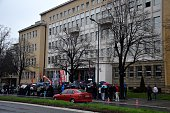 People gather in front of the courthouse as Serbian Radical Party leader Vojislav Seselj whose war crimes verdict is due on March 31 sets EU and NATO...