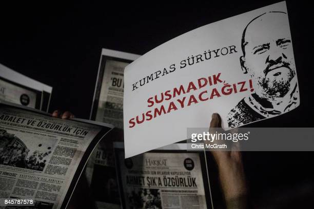People gather in protest outside the Silivri Courthouse during the ongoing trial of journalists from the Cumhuriyet Newspaper on September 11 2017 in...