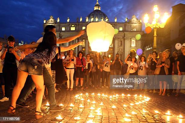 People gather in St Peter's Square to mark the 30th anniversary of the disappearance of Emanuela Orlandi on June 22 2013 in Vatican City Vatican This...