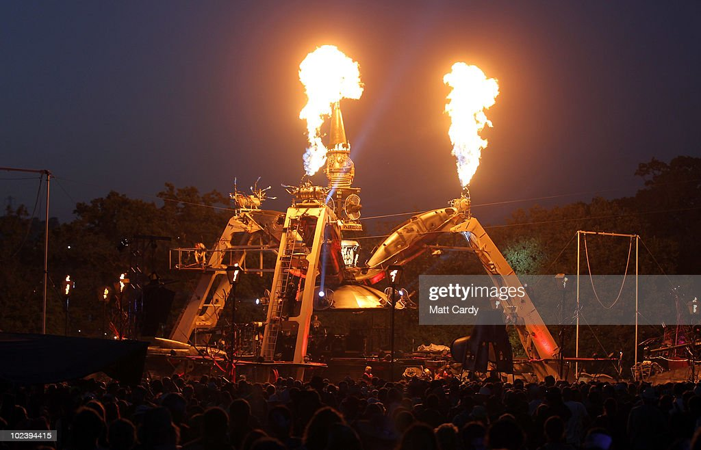People gather in the Arcadia Field at the Glastonbury Festival site at Worthy Farm, Pilton on June 24, 2010 in Glastonbury, England. The gates opened yesterday to what has become Europe's largest music festival and is celebrating its 40th anniversary.