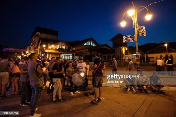 People gather in the town centre during the Guca Trumpet Festival on August 11 2017 in Guca Serbia Thousands of revellers attend the trumpet festival...