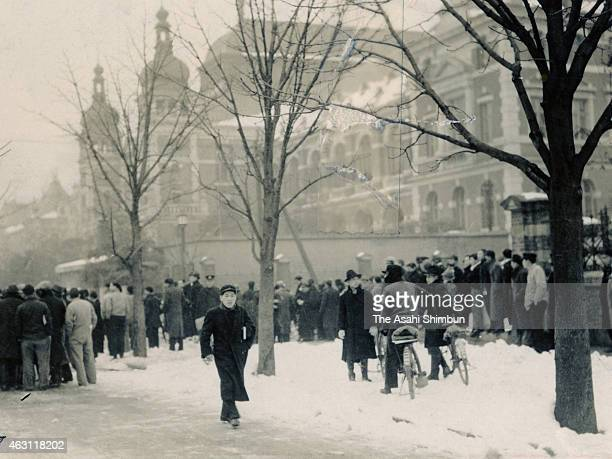 People gather near Navy Ministry during the February 26 Incident on February 26 1936 in Tokyo Japan