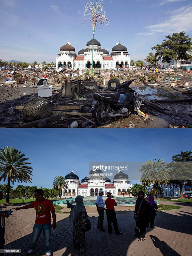 In this composite image a comparison has been made between a scene in 2004 and 2014 BANDA ACEH INDONESIA DECEMBER 11 People gather near the Grand...
