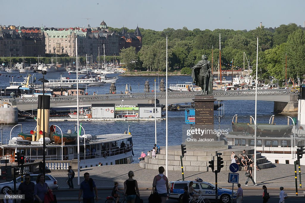 People gather near the water as preparations for the wedding of Princess Madeleine of Sweden and Christopher O'Neill continues on June 7, 2013 in Stockholm, Sweden.