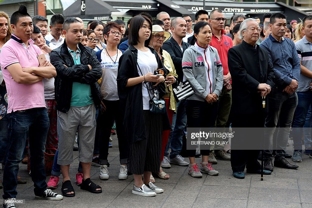 People gather on August 11 2016 in front of the city hall in Aubervilliers during a rally called by Aubervilliers' municipality asking for more...