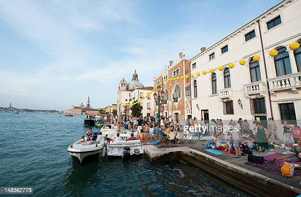 People gather on boats of all sizes in St Mark's basin for the Redentore Celebrations on July 14 2012 in Venice Italy Redentore is one of the most...