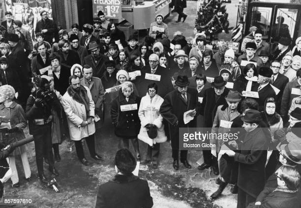People gather outside 72 Franklin St for the Soviet Jewry Rally in Boston Dec 29 1970
