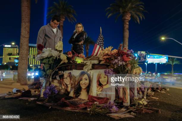 People gather to grieve after the mass shooting in Las Vegas Nevada that took 58 lives October 28 2017 On the night of October 1 gunman Stephen...