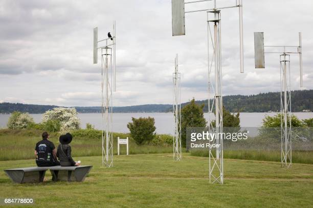 People gather to mourn the death of Chris Cornell at A Sound Garden the sculpture that inspired the name of the band Soundgarden on May 18 2017 in...