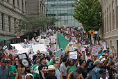 People gather to protest the killing of Eric Garner in New York United States on August 24 2014 Garner died on July 17 as cops tried to cuff him for...