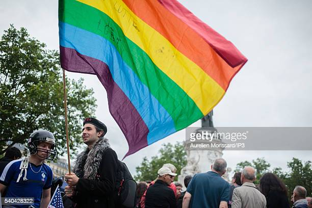 People gather to show their support after the worst mass shooing in United States history on June 13 2016 in Paris France At a homophobic attack...