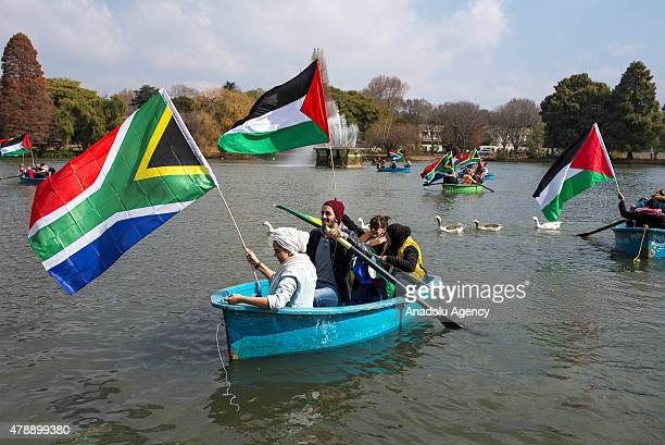 People gather to support the 'Third Freedom Flotilla' which was set to sail to Gaza on June 28 2015 in Johannesburg South Africa Third Gaza Freedom...