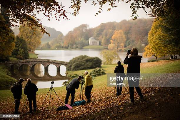 People gather to take photographs of trees displaying their autumn colours surrounding the lake at the National Trust's Stourhead on November 2 2015...