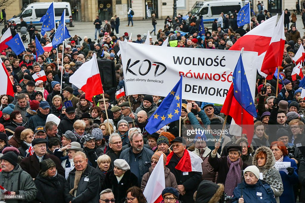 People gathered at the Main Square in Krakow to demonstre against Constitutional Court crisis The protest was organized by KOD The Committee for the...