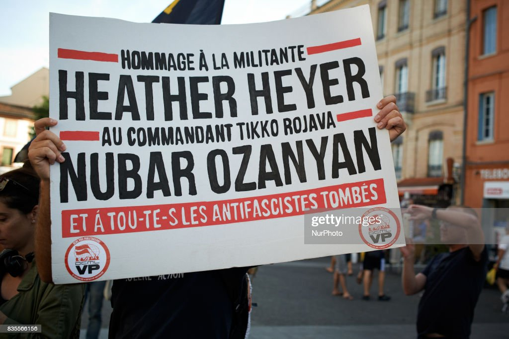 People gathered In Toulouse in solidarity with anti-fascists in Charlottesville after the killing of Heather Heyer by a white supremacist. On August 19th 2017 in Toulouse, France.