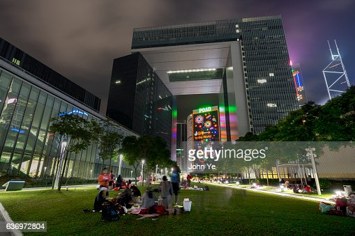 People gathering to celebrate Christmas in Hong Kong