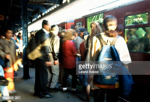 People Getting Onto Subway Train New York City Usa Stock ...