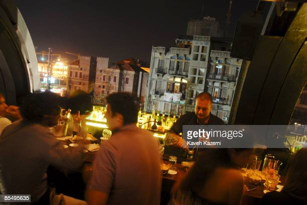 BEIRUT LEBANON NOVEMBER 5 2008 People having a drink in Centrale bar which is one of the most famous landmark spots on the 5th of November 2008 in...