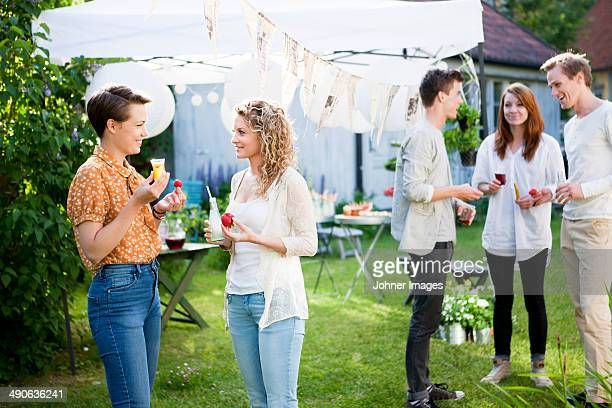 People having party in garden