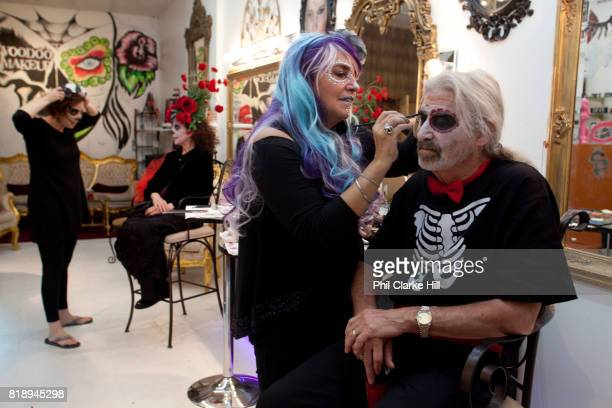 People having their makeup done in a specialist makeup bar Voodoo Makeup set up by Aimee Carr and Ron Carr it provides makeup that is gluten free...