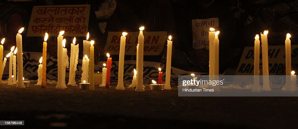 People held candle march at Jantar Mantar to mourn the death of rape victim girl on December 29, 2012 in New Delhi, India. The girl died of injuries in Singapore hospital after brutally gang raped in a moving bus on December 16, in Delhi.