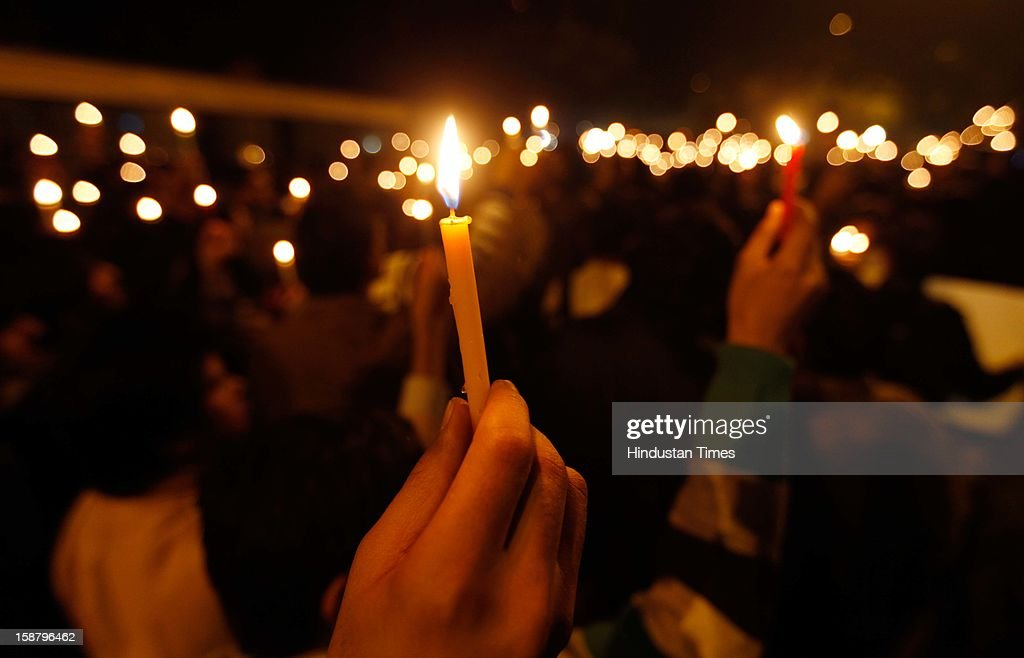 People held candle march at Jantar Mantar to mourn the death of rape victim girl, on December 29, 2012 in New Delhi, India. The girl died of injuries in Singapore hospital after brutally gang raped in a moving bus on December 16, in Delhi.